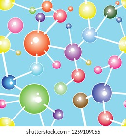 Molecule seamless communication background vector illustration, graphic design