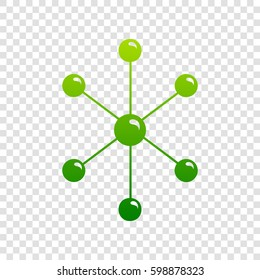 Molecule sign illustration. Vector. Green gradient icon on transparent background.