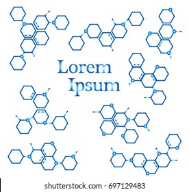 Molecule structure logo or biology model sign vector. Set of logo with structure molecule, illustration of logotype molecule for laboratory