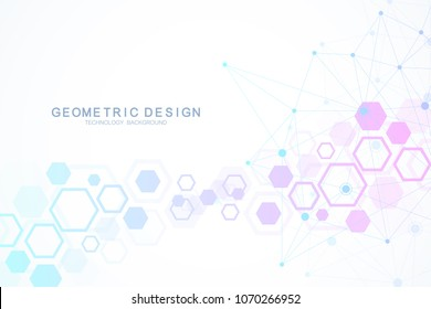 Molecule structure with particles. Hexagonal geometric background. Scientific medical research. Science and technology backgroud. Molecular concept. Vector illustration