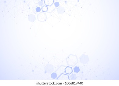 Molecule structure with particles. Scientific medical research. Science and technology backgroud. Molecular concept. Vector illustration