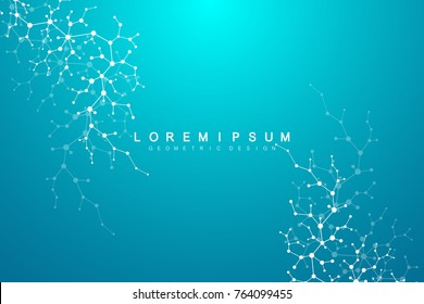 Molecule structure with particles. Scientific medical research. Science and technology backgroud. Molecular concept. Vector illustration.