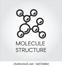 Molecule stucture linear icon. Label of chemical compound. Vector illustration for scientific, chemical, physical, educational and other projects