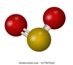 A molecule of sulfur dioxide. SO2 3D formula. Vector illustration. Chemical structure.