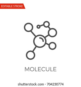 Molecule Thin Line Vector Icon. Flat Icon Isolated on the White Background. Editable Stroke EPS file. Vector illustration.