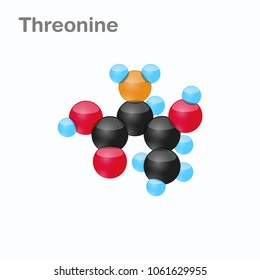 Molecule of Threonine, Thr, an amino acid used in the biosynthesis of proteins