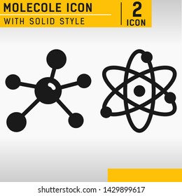 Molecule vector icon isolated on white background. Science symbol with line style. Science minimal atoms icon isolated on white background