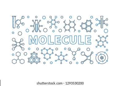 Molecule vector linear horizontal illustration - chemistry concept banner in outlline style