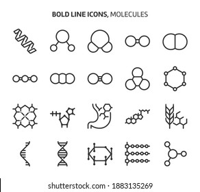 Molecules, bold line icons. The illustrations are a vector, editable stroke, 48x48 pixel perfect files. Crafted with precision and eye for quality.
