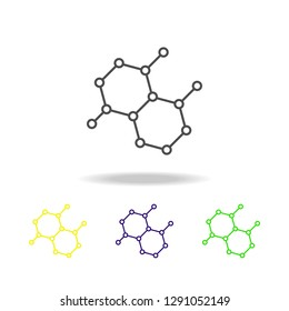 molecules colored icons. Element of science illustration. Thin line illustration for website design and development, app development. Premium outline icon
