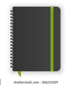 Moleskin notebook with green elastic band and spiral vector image