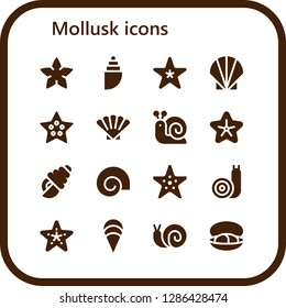mollusk icon set. 16 filled mollusk icons. Simple modern icons about  - Starfish, Shell, Seashell, Snail, Clam, Mussel