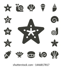 mollusk icon set. 17 filled mollusk icons.  Collection Of - Starfish, Shell, Snail, Seashell, Mussel, Clam