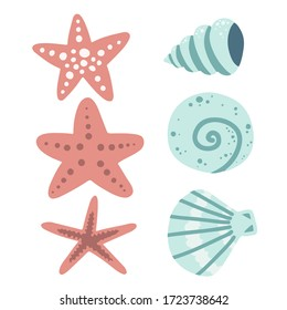 mollusks and starfish, underwater world set of elements, sea ocean, vector illustration