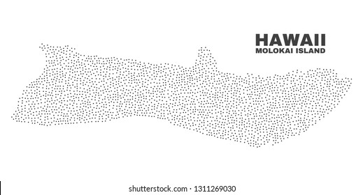 Molokai Island map designed with small points. Vector abstraction in black color is isolated on a white background. Random small points are organized into Molokai Island map.