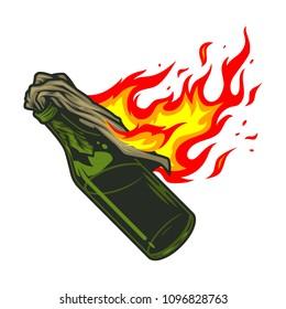 Molotov cocktail icon in colour. Vector illustration