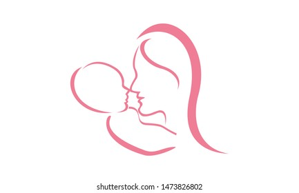 Mom and baby care logo design vector icon