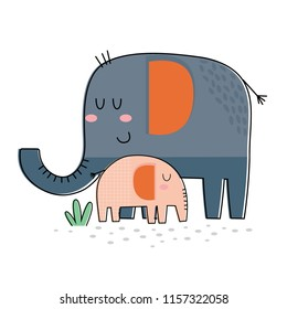 Mom and baby cute elephant hugging. vector illustration