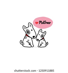 Mom and Baby dog cartoon white background.
