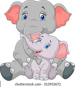 Mom and baby elephant sitting on white background