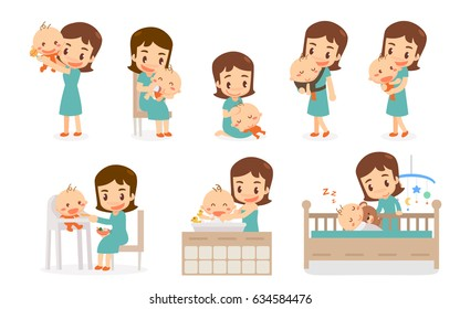 Mom and Baby. Flat design. Mom and baby in various actions.