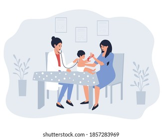 Mom and baby make a visit to the doctor. A pediatrician listens to breathing and heartbeat with a stethoscope. A baby in a nappy. Flat vector illustration.
