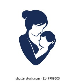 Mom and baby, Motherhood and Childbearing Logo Design Inspiration Vector