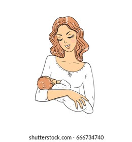 Mom with baby on white background. Vector illustration.