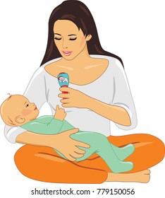 Mom and baby playing with rattle. Vector