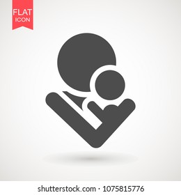 mom and baby vector icon. Mother holding a baby with her arm icon