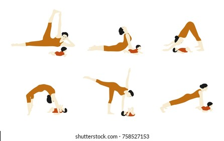 Mom and baby yoga.Set of Yoga mother and baby.Women Yoga poses set vector illustration.