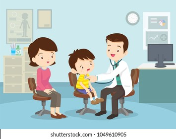 Mom and Boy to see Doctor sitting at the table in hospital, infirmary, clinic.healthcare concept.Character professional physician on workplace illustration.Mother and her son with doctor.