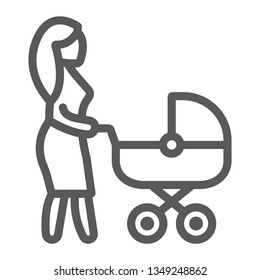 Mom with carriage line icon, care and child, woman with pram sign, vector graphics, a linear pattern on a white background, eps 10.