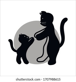 mom cat reaches for her baby beloved kitten, on a background of a gray circle, vector illustration drawn by hand, doodle line, perfect for print design, greeting card for Mother's Day celebration