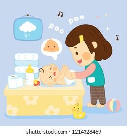 Mom change Diaper in baby room