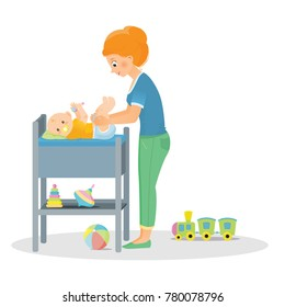 Mom changes a diaper to a newborn on a changing table.Isolated on white background. Cartoon style. Vector illustration