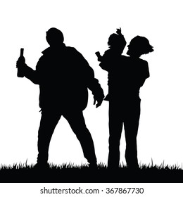 mom with child happy and drunk man illustration silhouette