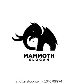 mom and child mammoth animal with white background logo symbol icon designs vector illustration template. mother mammoth save child with negative space logo