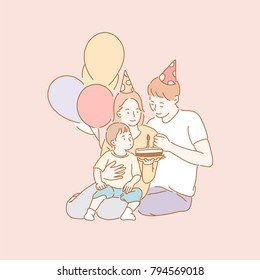 Mom and Dad celebrating their baby's first birthday. Happy Family Character hand drawn style vector doodle design illustrations.