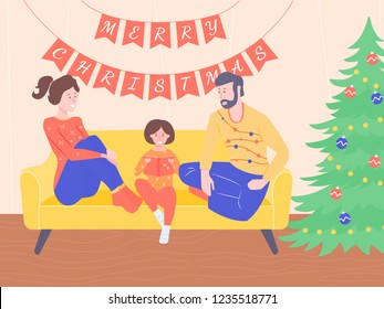 Mom, dad and daughter are sitting on the couch. Nearby is a decorated Christmas tree. The atmosphere of a family holiday, ugly sweaters, Merry Christmas.