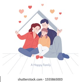 Mom, dad and daughter are sitting together with happy expressions. hand drawn style vector design illustrations.