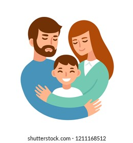 Mom and dad hugging their son. Happy parents and child in loving family. Cute cartoon characters vector illustration.