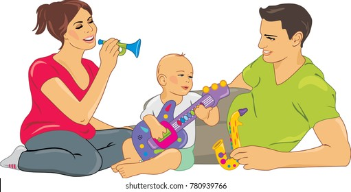 Mom and dad playing with a baby. Vector