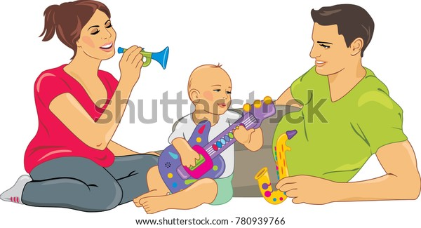 mom-dad-playing-baby-vector-600w-7809397