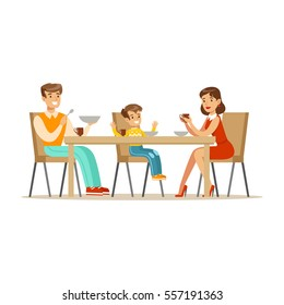 Mom, Dad And Son Having Breakfast , Happy Family Having Good Time Together Illustration
