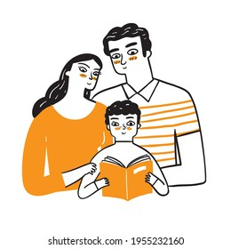 Mom and Dad watch their adorable son read a book. Hand drawn Vector Illustration doodle style