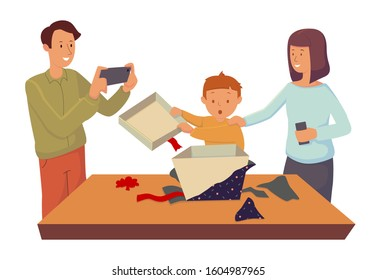 Mom and Dad watch their little son open a gift box.  Cartoon character design. Flat vector illustration