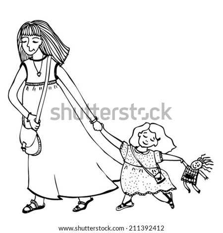 Mom Daughter Stock Vector Royalty Free 211392412