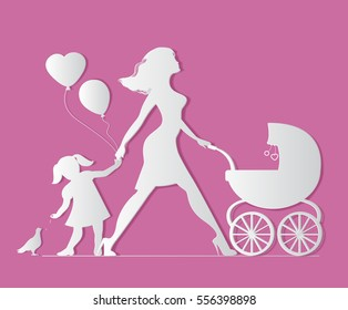 Mom with daughter and baby in carriage. Little girl feeds b
