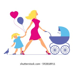 Mom with daughter and baby in baby carriage. Little girl feeds b